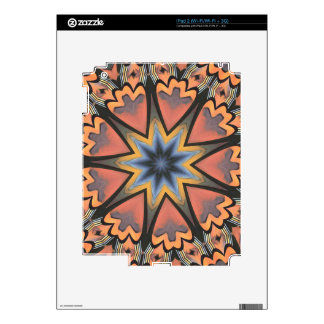 Pretty Peach Gray Starburst Pattern Decal For The iPad 2