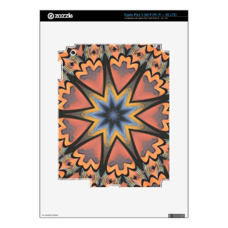 Pretty Peach Gray Starburst Pattern Skin For iPad 3