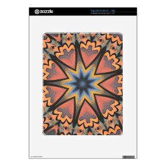 Pretty Peach Gray Starburst Pattern Skins For The iPad