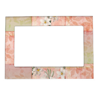 Pretty Peach Patchwork Magnetic Frame