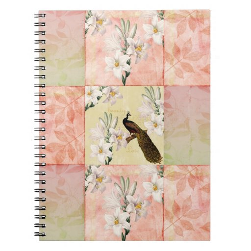 Pretty Peach Patchwork Spiral Note Book