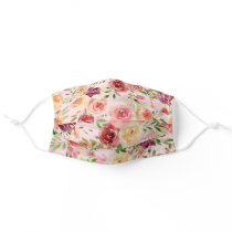 Pretty Peach Peony Floral Adult Cloth Face Mask