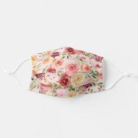 Pretty Peach Peony Floral Cloth Face Mask