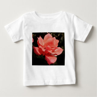 Pretty Peach Pink Rose floral Baby T-Shirt