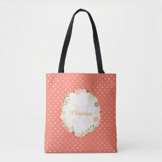 Pretty Peach Polka Dot Floral Name and Monogram Tote Bag