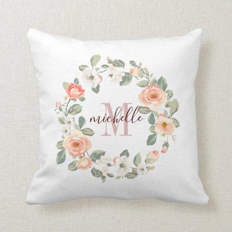 Pretty Peach Roses Throw Pillow