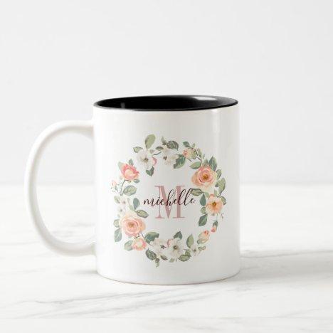 Pretty Peach Roses Two-Tone Coffee Mug