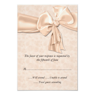 "Pretty Peach Wedding Response Card 3.5"" X 5"" Invitation Card"