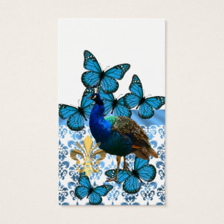 Pretty Peacock and blue butterflies Business Card