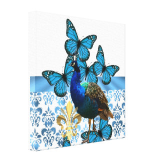 Pretty Peacock and blue butterflies Canvas Print