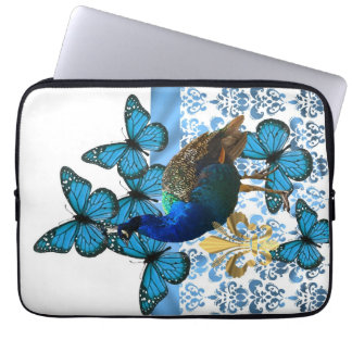 Pretty Peacock and blue butterflies Computer Sleeve