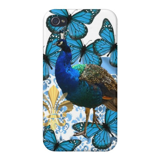 Pretty Peacock and blue butterflies iPhone 4 Cover
