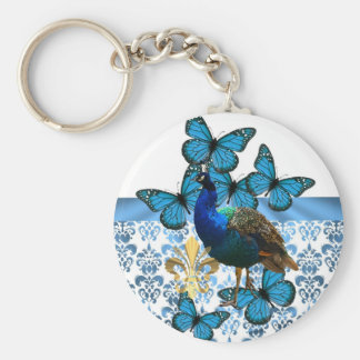 Pretty Peacock and blue butterflies Keychain