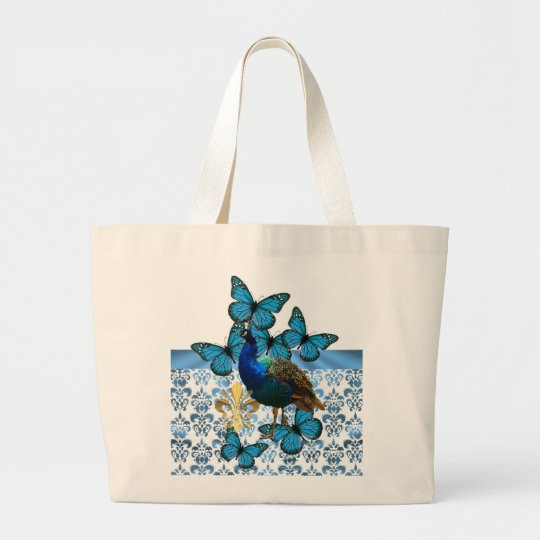 Pretty Peacock and blue butterflies Large Tote Bag