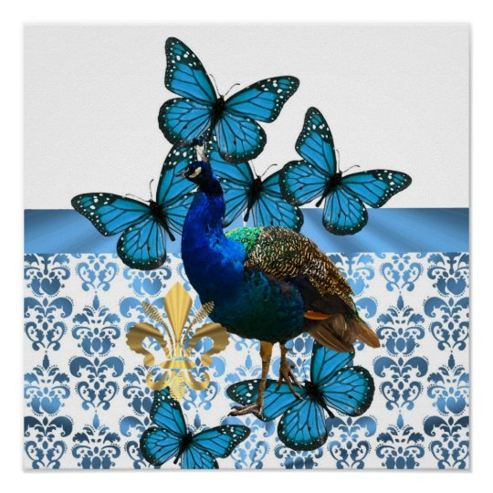 Pretty Peacock and blue butterflies Poster