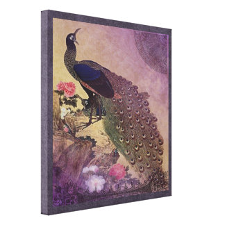 Pretty Peacock and Peonies in Purple Canvas Print
