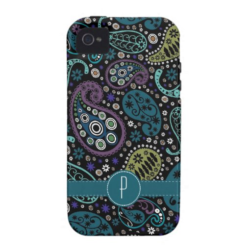 Pretty Peacock Colored Paisley with Monogram Vibe iPhone 4 Covers