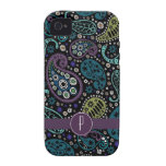 Pretty Peacock Colored Paisley with Monogram iPhone 4/4S Covers