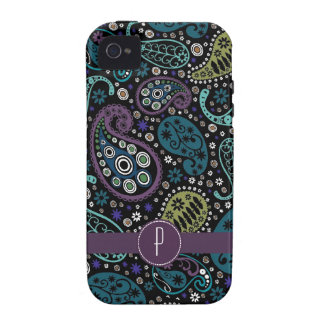 Pretty Peacock Colored Paisley with Monogram Case For The iPhone 4