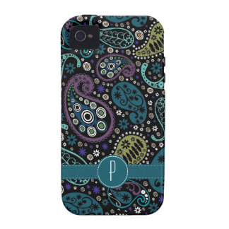 Pretty Peacock Colored Paisley with Monogram Case-Mate iPhone 4 Cases