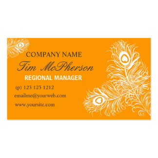 Pretty  Peacock Feather Calling and Networking Business Card