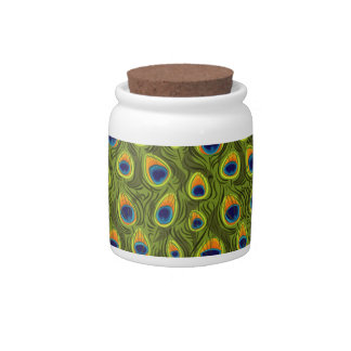 Pretty Peacock Feathers Pattern Candy Jars