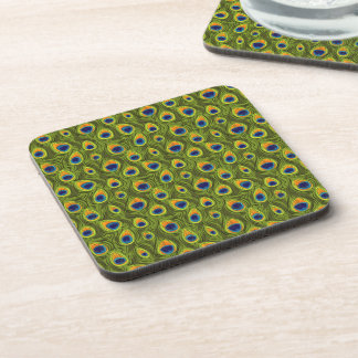 Pretty Peacock Feathers Pattern Coaster