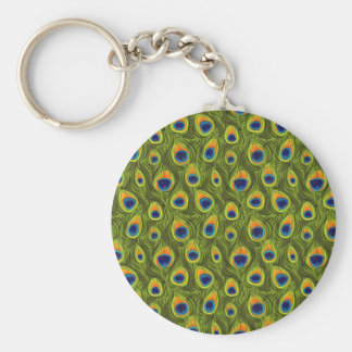 Pretty Peacock Feathers Pattern Keychain