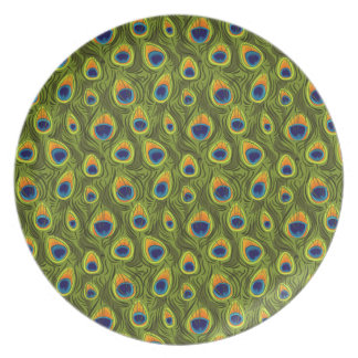 Pretty Peacock Feathers Pattern Melamine Plate