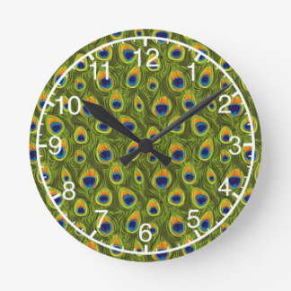 Pretty Peacock Feathers Pattern Round Clock