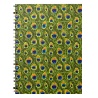 Pretty Peacock Feathers Pattern Spiral Notebook