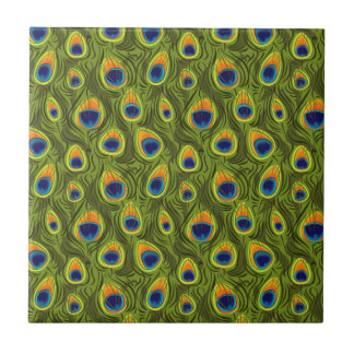 Pretty Peacock Feathers Pattern Tile