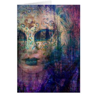Pretty Peacock Masquerade Mask Greeting Card
