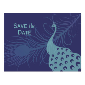 Pretty Peacock Save The Date Postcard