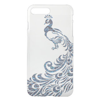 Pretty peacock tribal modern vintage bird clear iPhone 7 plus case