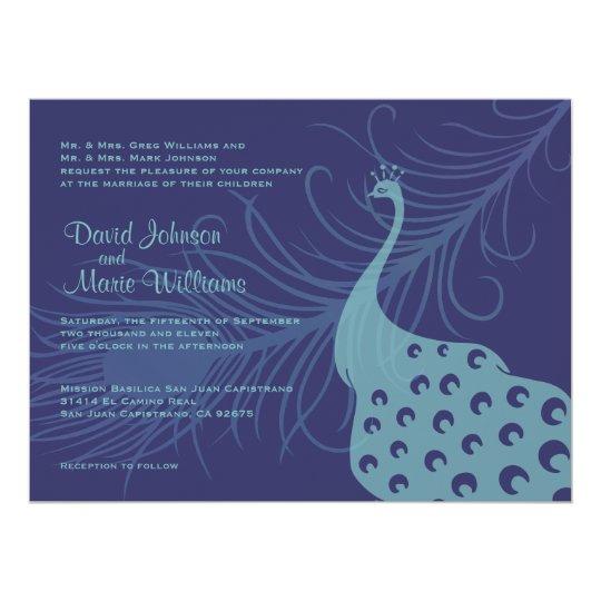 Pretty Peacock Wedding Invitation