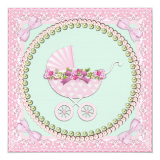 Pretty Pearl Pink and Green Baby Shower 5.25x5.25 Square Paper Invitation Card