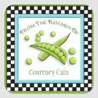 Pretty Peas & Checkerboard Kitchen Square Stickers