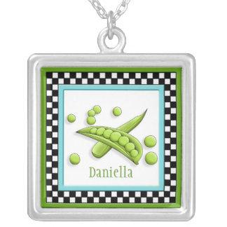 Pretty Peas & Checkerboard Square Necklace