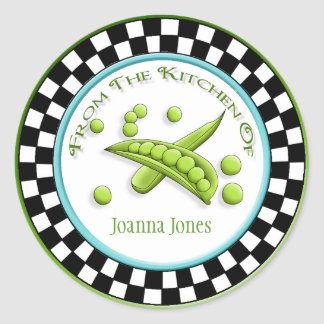 Pretty Peas & Round Checkerboard Kitchen Stickers