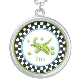 Pretty Peas & Round Checkerboard Necklace