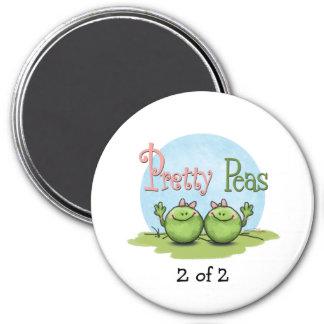 Pretty peas - veggies twin girls 3 inch round magnet