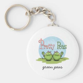 Pretty peas - veggies twin girls basic round button keychain
