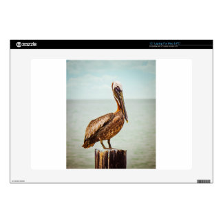 Pretty Pelican Perched Over the Ocean Laptop Skins