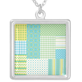 Pretty Pendant Necklace: Daffodils, Faux-Patchwork