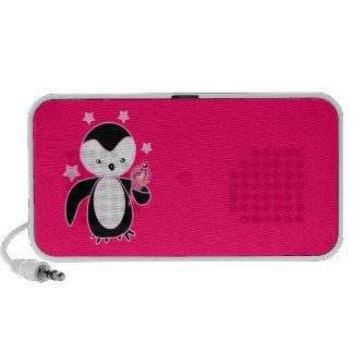 Pretty  Penguin W/ Ice Cream Cone Hot Pink Travel Speakers