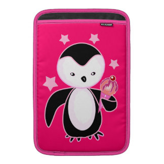 Pretty  Penguin W/ Ice Cream Cone Hot Pink Sleeves For MacBook Air
