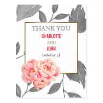 Pretty Peonies Modern Floral Thank You notes Postcard