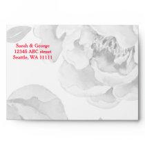 Pretty Peonies Modern Floral wedding envelope