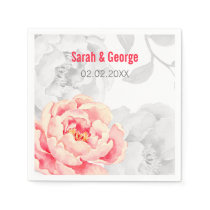 Pretty Peonies Modern Floral wedding napkin